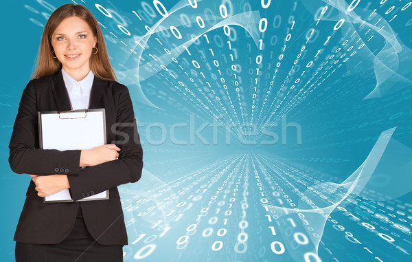 Businesswomen with paper holder Stock photo © cherezoff