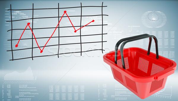 Bevásárlókosár grafikon ár grafikonok piros bolt Stock fotó © cherezoff
