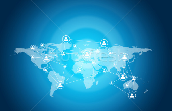 World map with people icons Stock photo © cherezoff