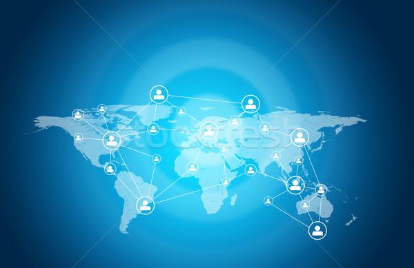 Мир карта люди иконки связи бизнеса карта Сток-фото © cherezoff