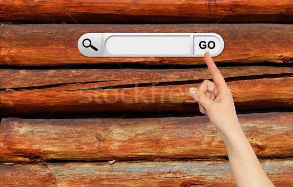 Stockfoto: Menselijke · hand · Zoek · bar · browser · oude · houten