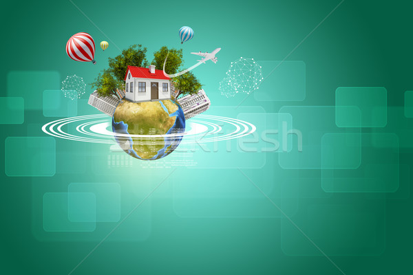 Earth with house, buildings, air balloons, trees and airplane Stock photo © cherezoff