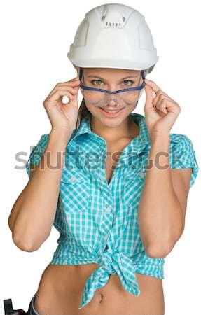 美少女 白 ヘルメット ショートパンツ シャツ ストックフォト © cherezoff