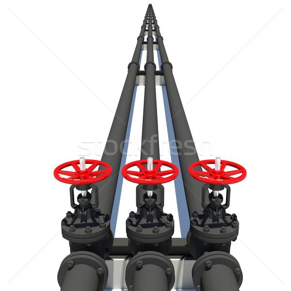 Három fekete csövek izolált fehér fém Stock fotó © cherezoff
