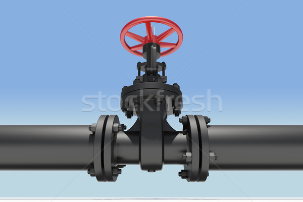 Black pipe and valve Stock photo © cherezoff