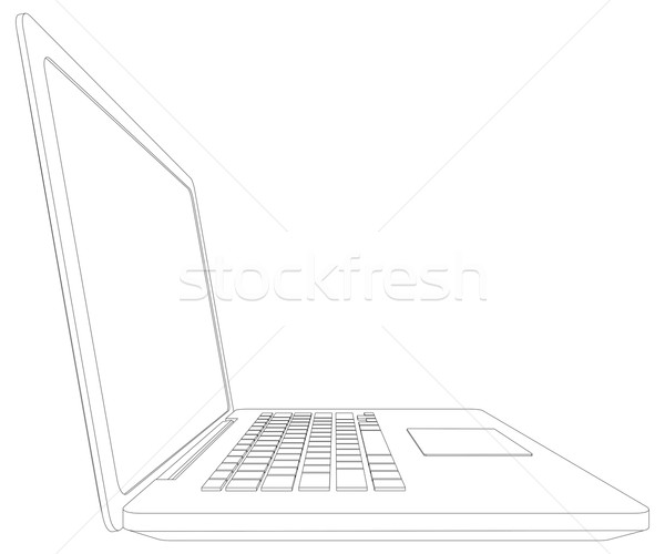 Sketch of wire-frame open laptop. Vector illustration Stock photo © cherezoff