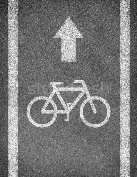 Stock photo: Asphalt road texture with two line and bicycle sign