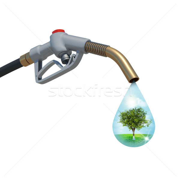 Landscape with tree in the centre inside of a drop weeping from  Stock photo © cherezoff