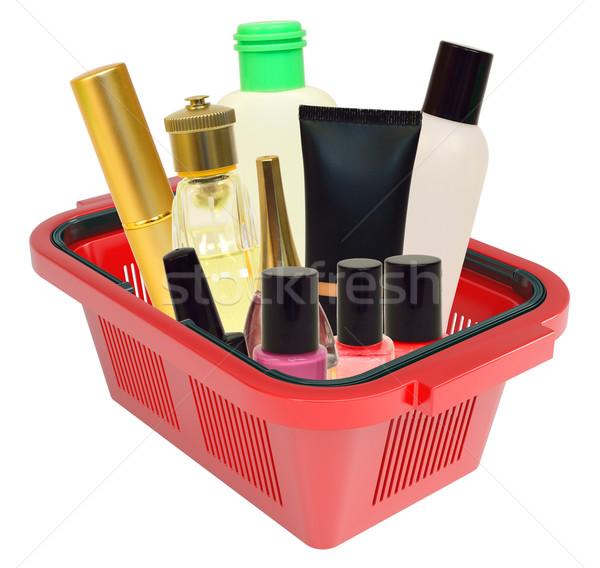 Kozmetika bevásárlókosár izolált fehér vásárlás bolt Stock fotó © cherezoff