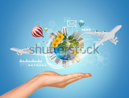 Earth above humans hands Stock photo © cherezoff