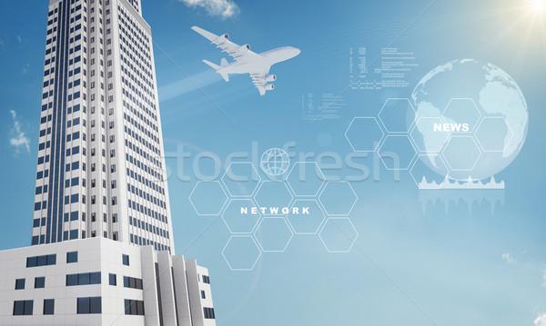 Terra grattacielo jet cielo blu elementi immagine Foto d'archivio © cherezoff