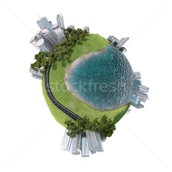Foto stock: Negócio · cidade · grama · terra · isolado · branco