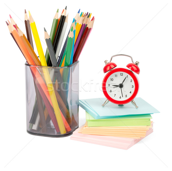 Crayons with alarm clock and stickers Stock photo © cherezoff