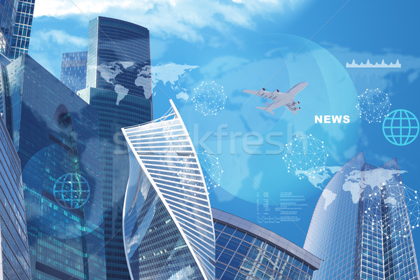High-rise buildings with jet and news word Stock photo © cherezoff