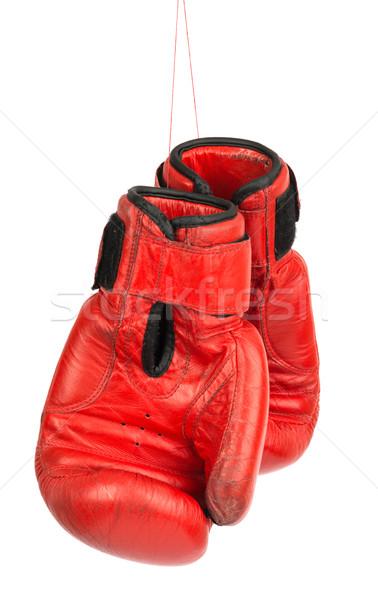 Red boxing gloves on white Stock photo © cherezoff