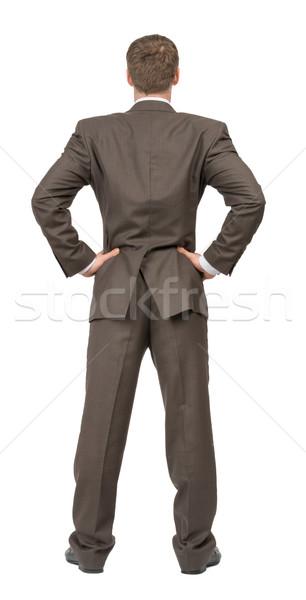 背面図 ビジネスマン 白 孤立した ビジネス ボディ ストックフォト © cherezoff