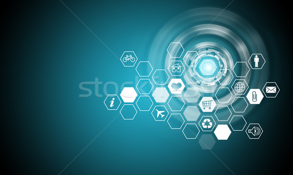 Holographic screen with computer icons Stock photo © cherezoff