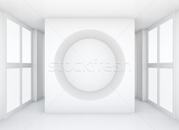Witte muur gat schone tentoonstelling kamer Stockfoto © cherezoff