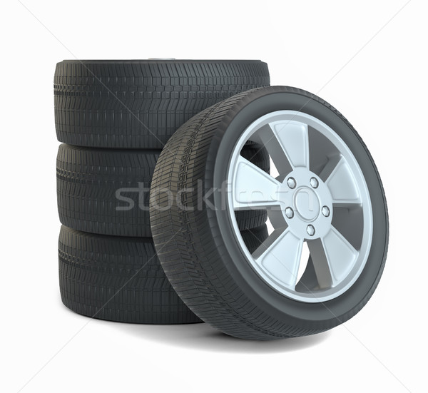 Rubber tires. Isolated on white Stock photo © cherezoff