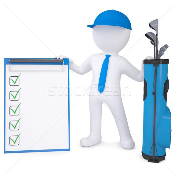 3D fehér férfi tart lista táska golfütők Stock fotó © cherezoff