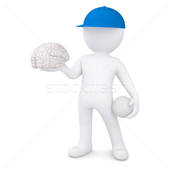 3d white man with volleyball ball keeps the brain Stock photo © cherezoff
