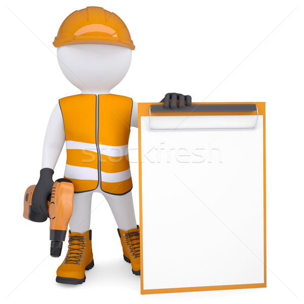 3d white man in overalls with a screwdriver Stock photo © cherezoff