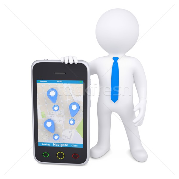 3d man and a smartphone with a map and marks Stock photo © cherezoff