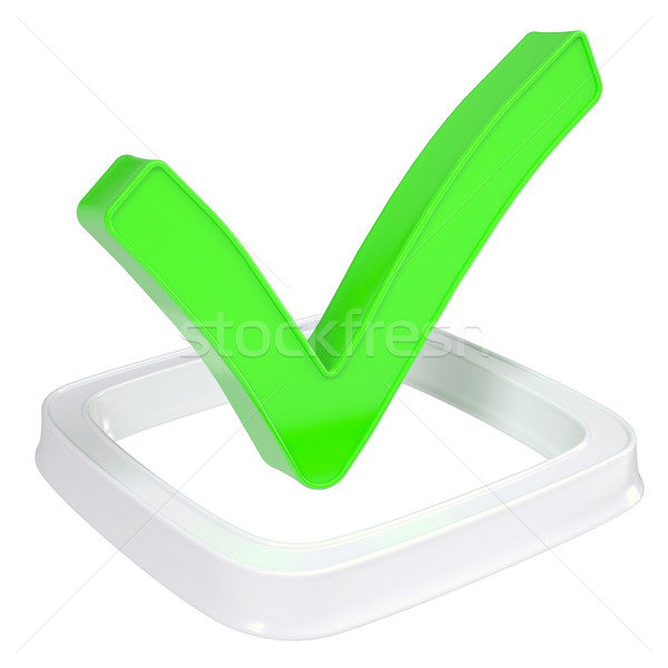 Stock photo: The green check mark in the checkbox