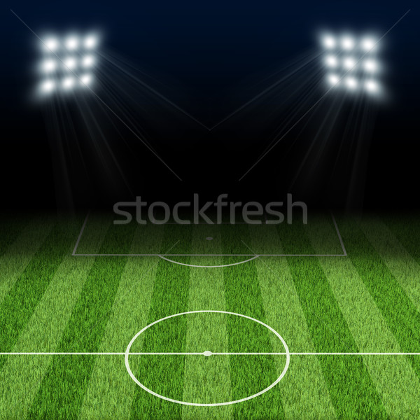 Night football arena illuminated by spotlights Stock photo © cherezoff