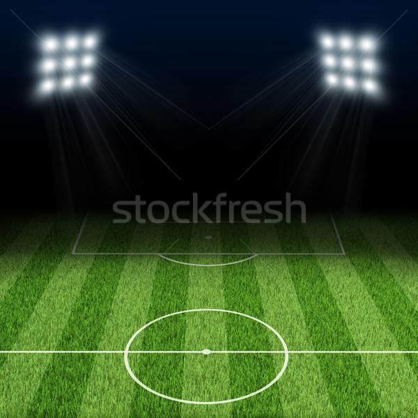 éjszaka futball aréna megvilágított sport fény Stock fotó © cherezoff