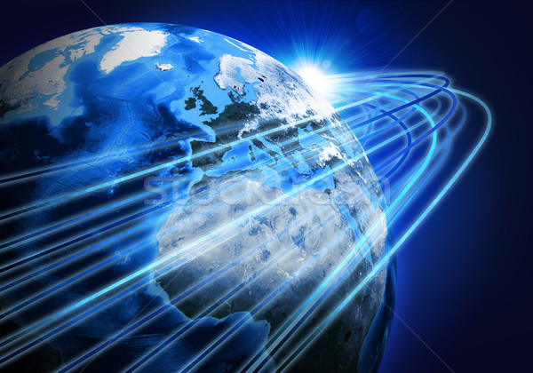 Glowing lines and Earth. Hi-tech background Stock photo © cherezoff