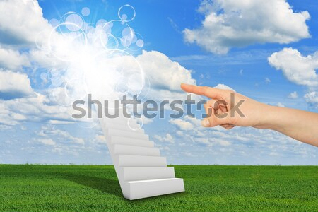 Stairs in sky with green grass, clouds and sun Stock photo © cherezoff