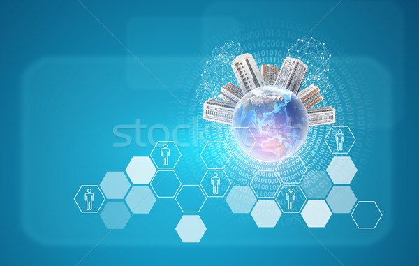 Earth with buildings. Hexagons and figures as backdrop Stock photo © cherezoff