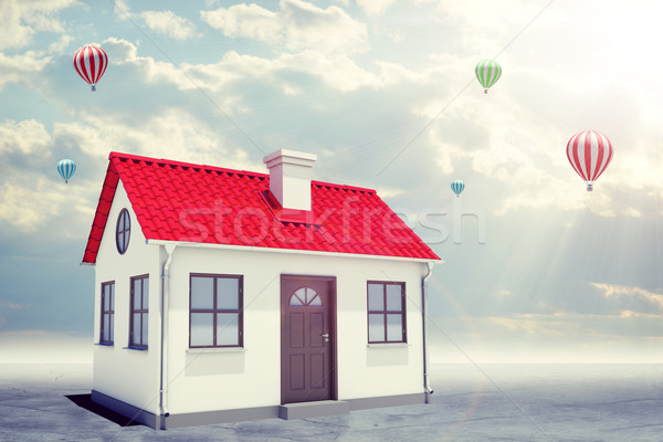 White house with red roof and chimney. Background sun shines brightly Stock photo © cherezoff