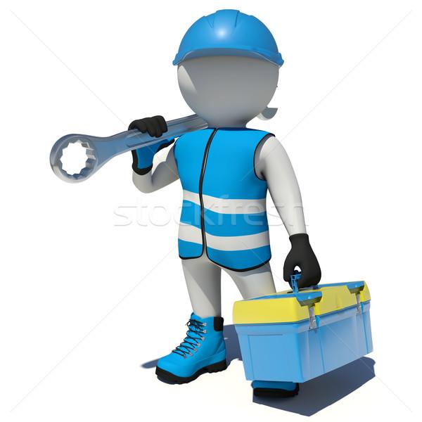 Trabalhador caixa de ferramentas chave inglesa ombro isolado Foto stock © cherezoff