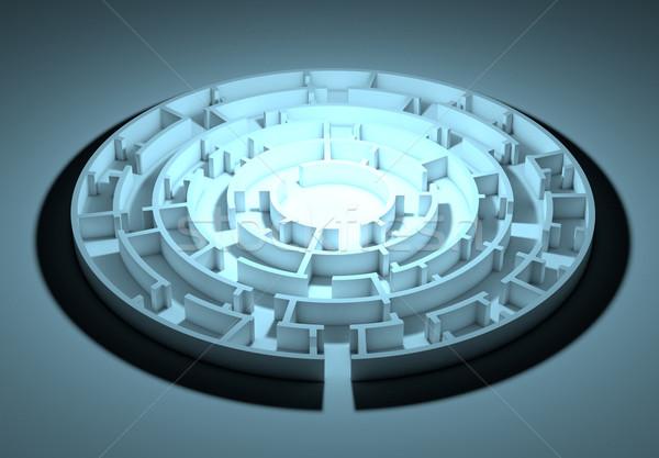 Сток-фото: темно · лабиринт · центр · изображение · синий