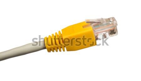 żółty kabel komputerowy biały odizolowany komputera Zdjęcia stock © cherezoff