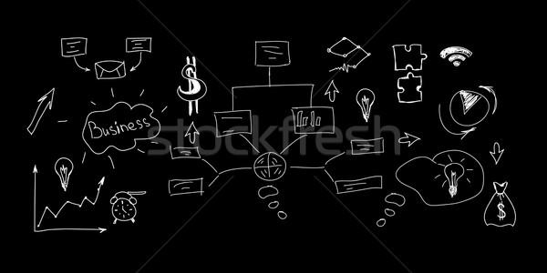 Diferente símbolos signos aislado negro trabajo Foto stock © cherezoff