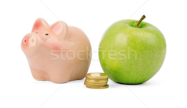 新鮮な リンゴ コイン 貯金 孤立した 白 ストックフォト © cherezoff