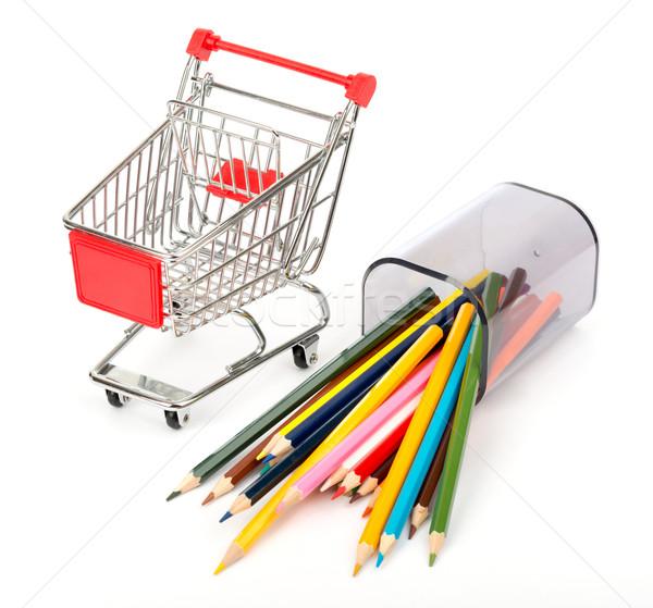 Carrinho de compras giz de cera branco isolado madeira lápis Foto stock © cherezoff