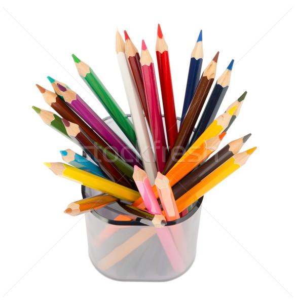 Kalem fincan boya kalemleri üst görmek yalıtılmış Stok fotoğraf © cherezoff