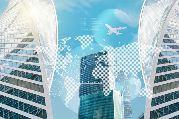 Negocios centro mapa del mundo Jet cielo azul ordenador Foto stock © cherezoff