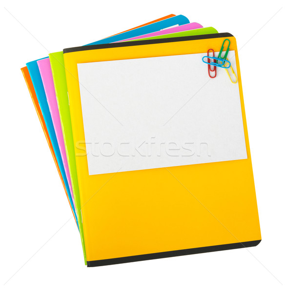 Colorful copybooks with empty card Stock photo © cherezoff
