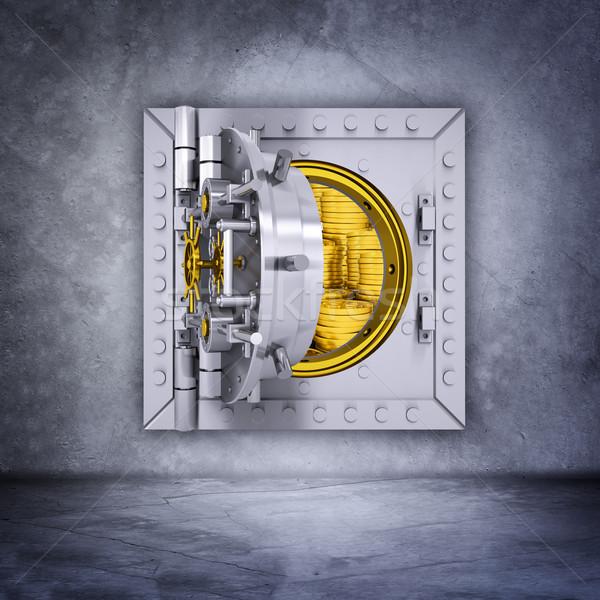 Fémes bank agykoponya ajtó nyitva szürke Stock fotó © cherezoff