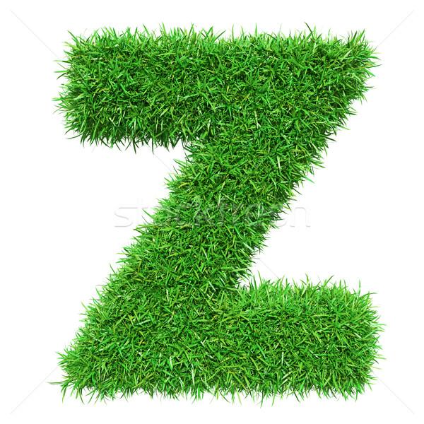 зеленая трава письмо z изолированный белый шрифт дизайна Сток-фото © cherezoff