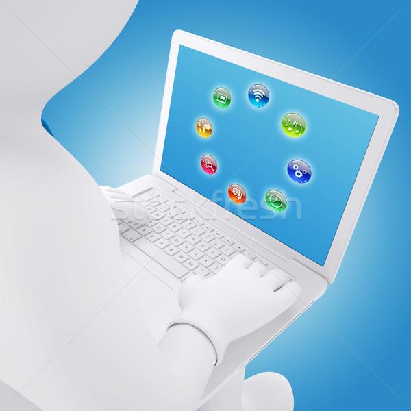 3D biały człowiek posiedzenia laptop ekranu aplikacja Zdjęcia stock © cherezoff