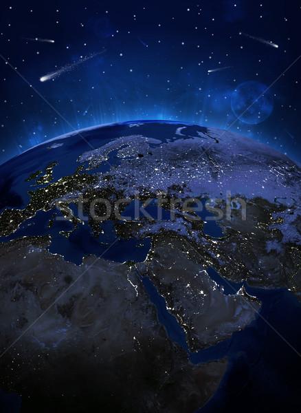 ночь поверхность планете Земля Элементы изображение небе Сток-фото © cherezoff