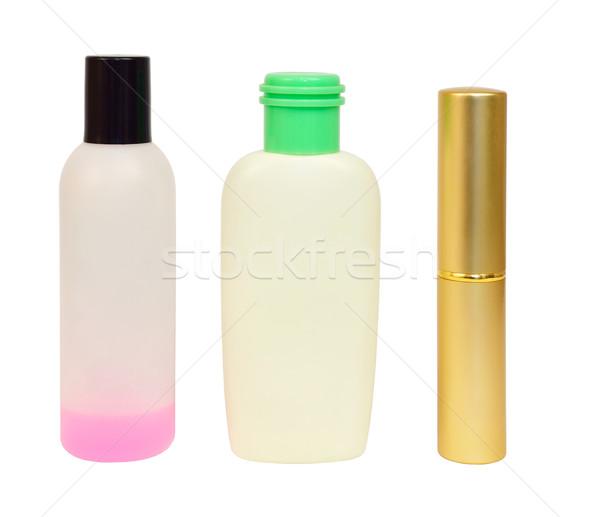 Сток-фото: бутылок · косметики · изолированный · белый · фон · металл
