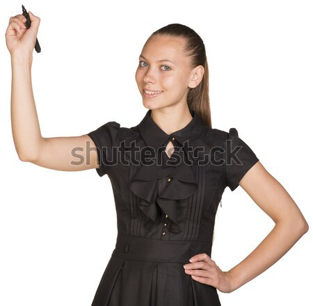 Businesswoman stand holding paper holder Stock photo © cherezoff