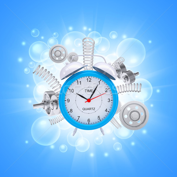 Alarm clock with springs and white gears Stock photo © cherezoff